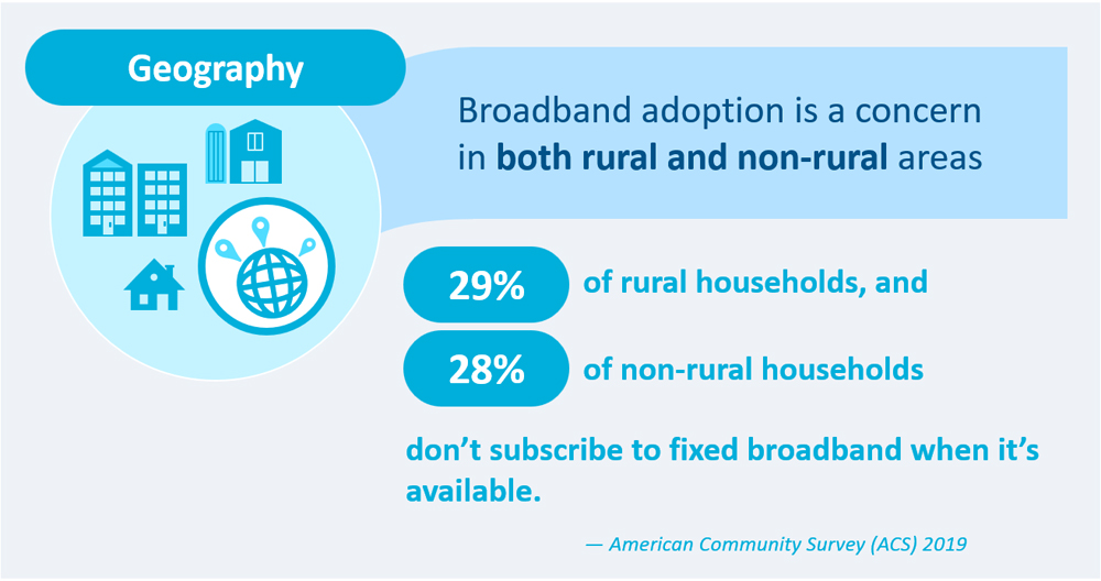 29% of rural households and 28% of non-rural households do not subscriber to fixed broadband when it is available